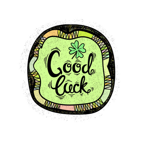 four leaved: Good luck. Drawing letters and patterns. Vector illustration Illustration