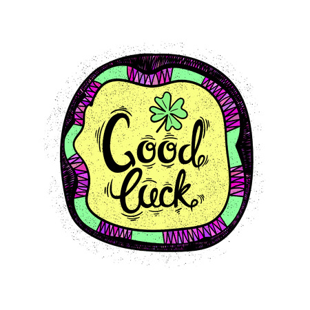 leaved: Good luck. Drawing letters and patterns. Vector illustration Illustration