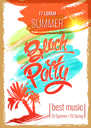 beach party: The best beach party. Hand drawn letters