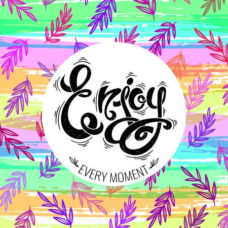 enjoy: Enjoy, hand-drawn vector letters