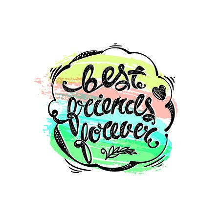 best friends forever: Best friends forever. Hand drawn letters Illustration