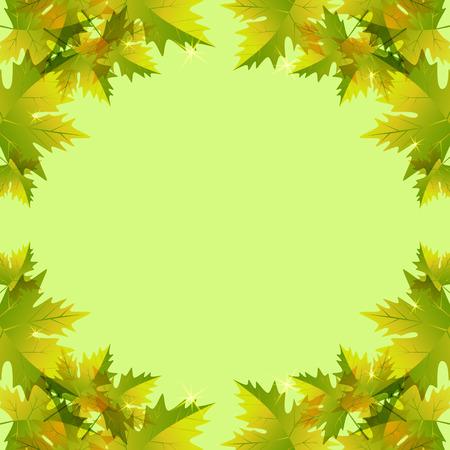 leaves frame: Autumn leaves, maple. Vector bright frame