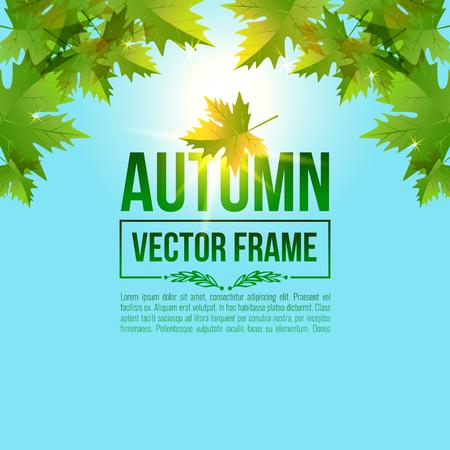 wind down: Autumn leaves, maple. Vector bright frame EPS10 Illustration