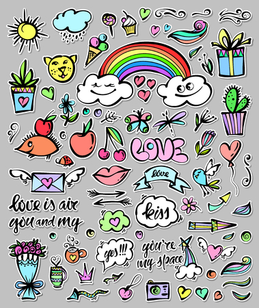 rown: Vector set of hand drawn objects, Doodle elements. Funny pictures, icons. Contemporary illustration, design, blog, social media, to design cards or invitations