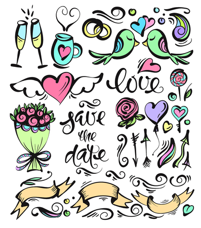 rown: Cute hand drawn set of vector symbols and letters. Perfect for decoration of wedding invitations or postcards.