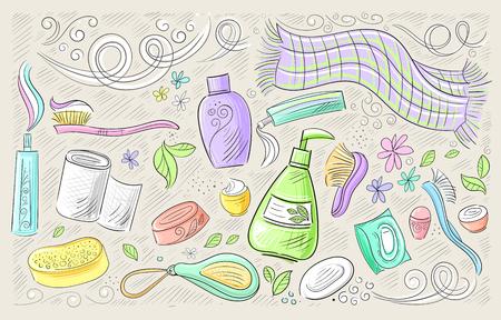 Ensemble de produits hygiène à main dessinée à la main pour le corps et le visage Vecteurs