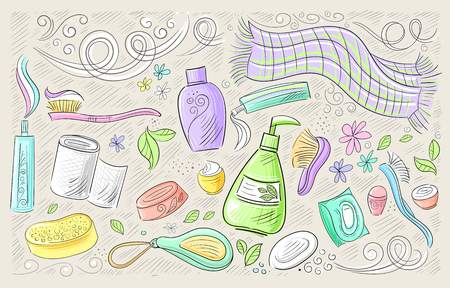 Vector hand drawn set of hygiene products for body and face