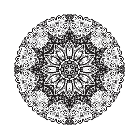 Hand drawn mandala ornament.Mehndi, henna pattern. Can be used for textiles, printing on phone, yoga Mat, coloring EPS10 Illustration