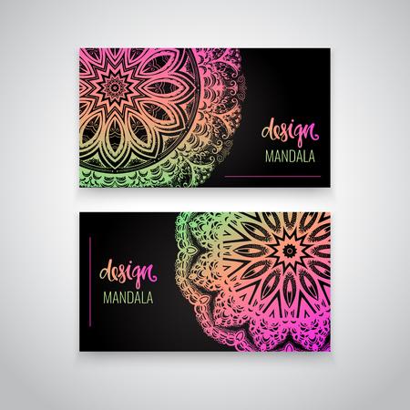 Set of modern business card templates with beautiful Indian ornament mandala.