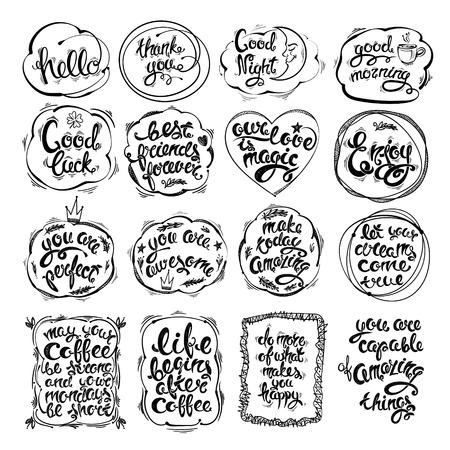 Grand ensemble de lettres, phrases, motivations dessinées à la main. Carte de voeux de vecteur, illustrations sur divers sujets