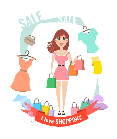 Woman with shopping bags, packages. I love shopping. Vector illustration