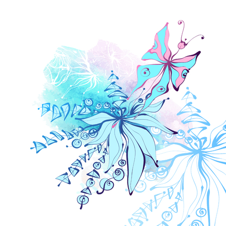 Butterfly and flowers on watercolor background. Beautiful elegant vector illustration. Perfect for cards or invitations.