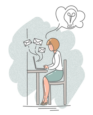 Woman sitting with a laptop in the office. Vector illustration.