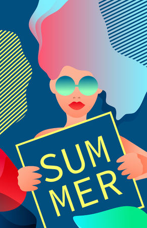 A woman in glasses holding a sign that says Summer. Vector illustration.