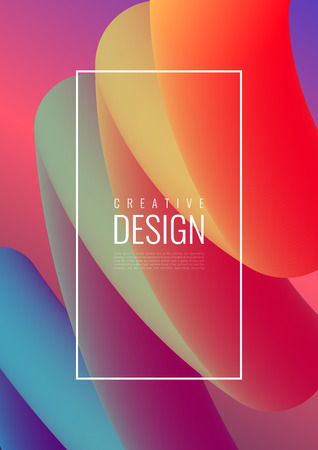 Abstract 3D mixing of colors and lines in a beautiful combination. Modern vector template for design of posters and much more.  イラスト・ベクター素材