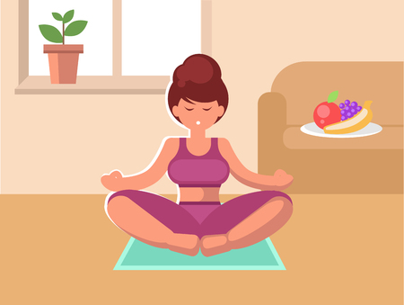 A woman sitting on a rug in the room meditating. Vector illustration.