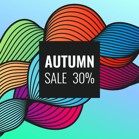 Autumn discounts, bright background with dynamic lines, waves. Beautiful vector template for design. 일러스트