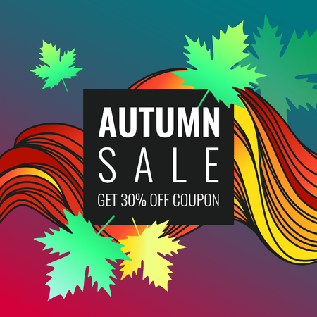 Autumn discounts, background with leaves and waves. Beautiful vector template for design