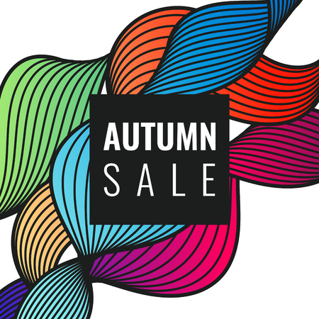 Autumn discounts, bright background with dynamic lines, waves. Beautiful vector template for design. 向量圖像