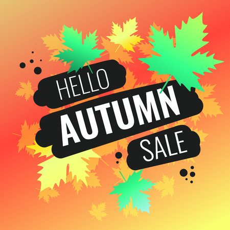Discounts autumn bright background with leaves. Beautiful vector template for design 向量圖像