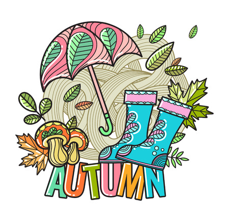 Beautiful vector autumn composition of hand-drawn objects in the style of Doodle
