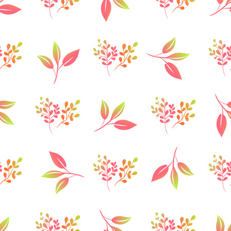 Beautiful light delicate leaves. Vector seamless pattern