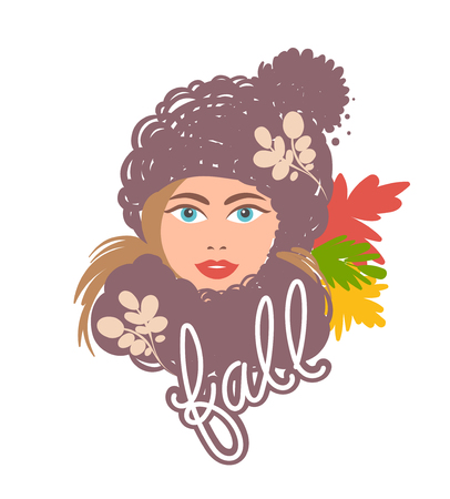 Bright autumn girl in a hat and a scarf with leaves. Beautiful picture for design design. 일러스트