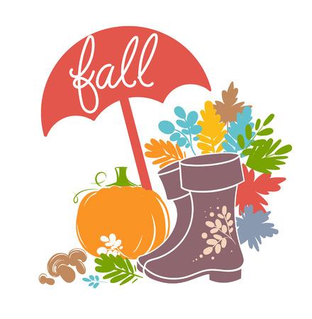 Bright autumn set of illustrations. Beautiful pictures for design design.