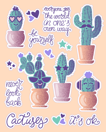 Funny cactuses in pots with lettering motivation. Fun stickers patches for your project