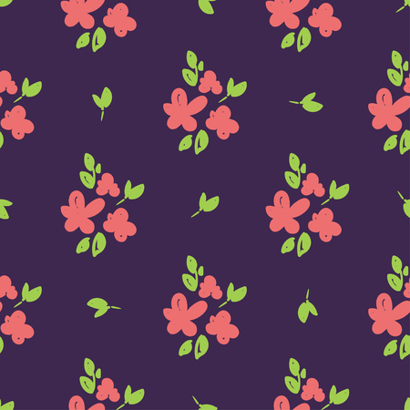 Simple beautiful hand-drawn flowers. Vector seamless pattern.