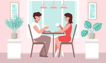 Lovers woman and a man at a table in a cafe. Vector illustration in flat style.