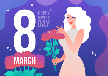 Beautiful girl with a bouquet of flowers and the inscription on March 8. Postcard for international womens day. Vector illustration