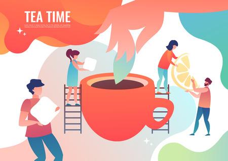Tiny people making tea. Vector illustration in flat style. 일러스트