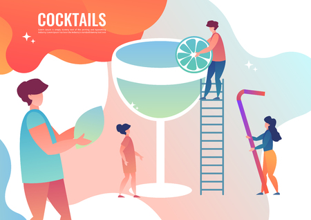 Tiny people are making cocktails. Vector illustration in flat style.