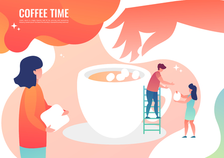 Tiny people making coffee. Vector illustration in flat style.