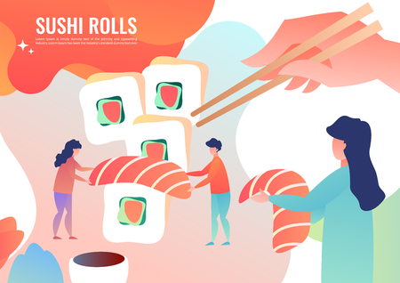 Tiny people making cook rolls, Japanese food. Vector illustration in flat style. Illustration