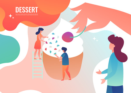 Tiny people are preparing a dessert, cupcakes. Vector illustration in flat style