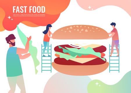 Tiny people cooking fast food, burger. Vector illustration in flat style. 일러스트