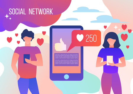 Man and woman using smartphones watching social networks, hearts. Vector illustration in flat style. 向量圖像