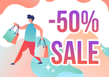 Man running with shopping bags and the inscription discount. Vector illustration in flat style. 일러스트
