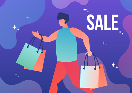Man running with shopping bags and the inscription discount. Vector illustration in flat style. 向量圖像