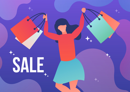 The woman running with shopping bags and the inscription discount. Vector illustration in flat style. 向量圖像