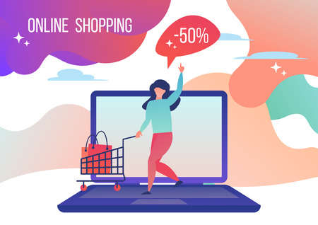 Woman shopping in the online store.  Vector illustration in flat style.