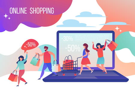 People make purchases in the online store. Vector illustration in flat style.