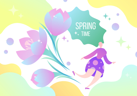 Woman fairy and flowers. Beautiful spring illustration in flat style, postcard.