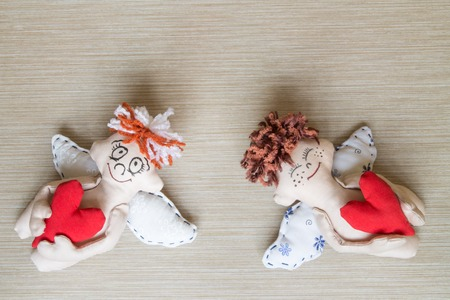 soft toys: Cherubs with Red Hearts. Soft Toys. Gift.