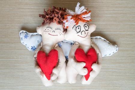 cherubs: Cherubs with Red Hearts. Soft Toys. Gift.