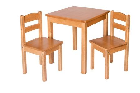 silla de madera: Dos Presidencia y Mesa para niños. Aislado.