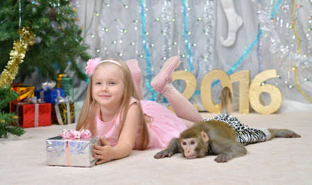 welldressed: greeting new year card with monkey, well-dressed girl and gifts Stock Photo