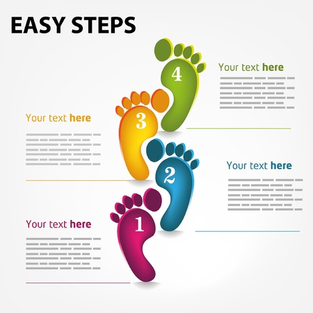 footprint: Vector template for a easy step by step brochure, web Illustration
